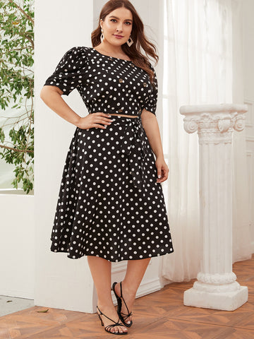 Plus Puff Sleeve Button Detail Polka Dot Top & Belted Skirt Set
