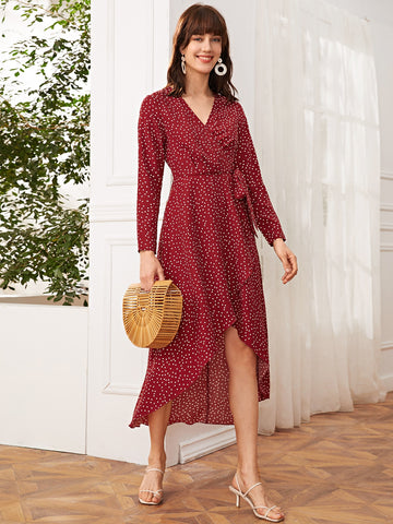 Wrap Knot Polka Dot A-line Dress