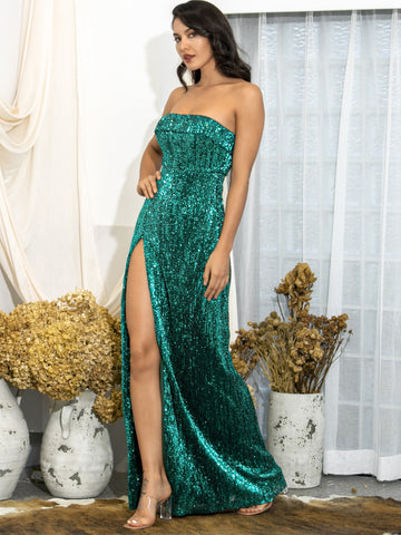 Amy's Cart Foldover Front High Split Sequin Tube Dress