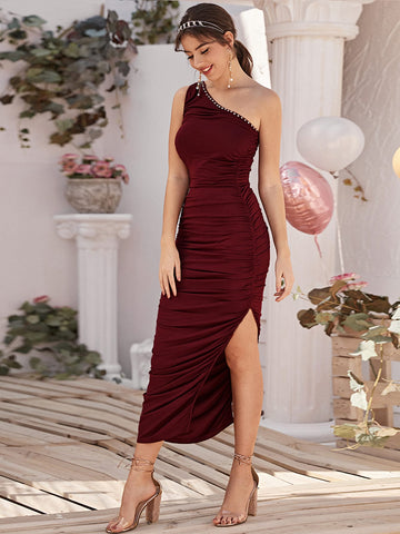 One Shoulder Beaded Detail High Split Ruched Dress