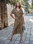 Leopard Print Drawstring Waist Dress