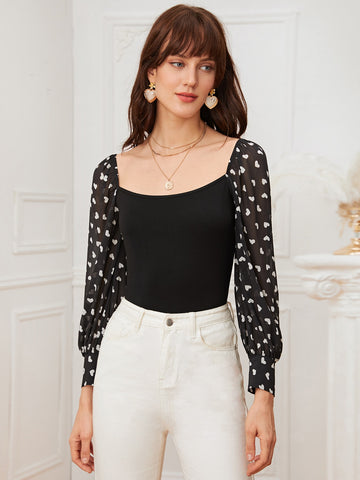 Heart Print Sheer Lantern Sleeve Top