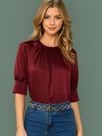 Crinkle Front Raglan Sleeve Satin Top