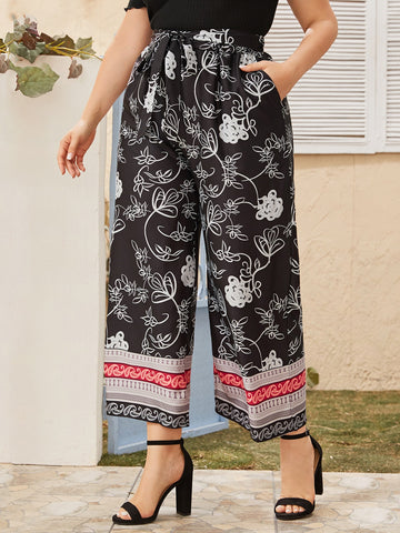 Plus Floral Print Belted Wide Leg Pants