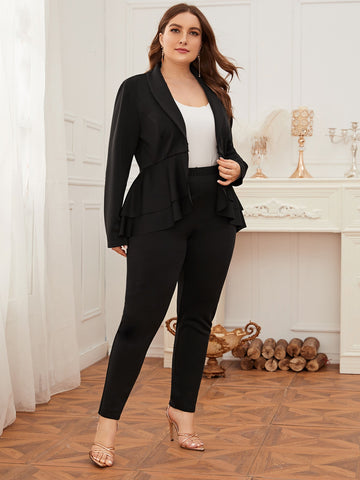 Plus Shawl Collar Peplum Blazer & Pants Set