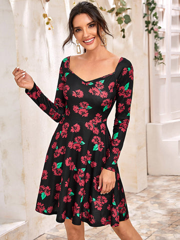 Sweetheart Neck Floral Print Dress