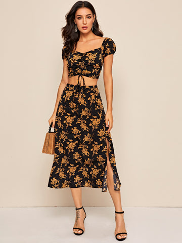 Ruched Drawstring Front Floral Top & Slit Hem Skirt Set