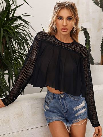 Sheer Lace Yoke Boxy Top
