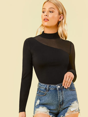 Mock-Neck Mesh Shoulder Top