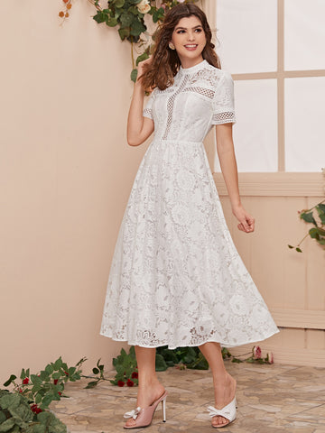Mock Neck Eyelet Tape Insert Lace Dress