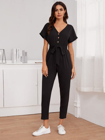 Button Front Self Belt Cuffed Jumpsuit