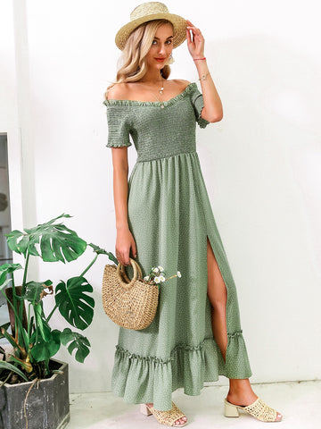 Off Shoulder Split Thigh Ruffle Hem Polka Dot Dress