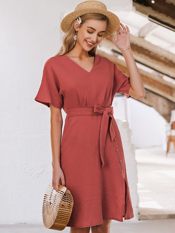 Belted Button Front Crinkle Dress