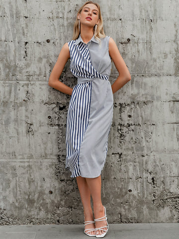 Crisscross Tie Back Striped Dress