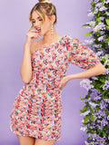 One Shoulder Puff Sleeve Ruched Detail Floral Dress
