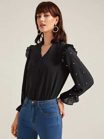 Amy's Cart Pearls Beaded Frill Trim Blouse