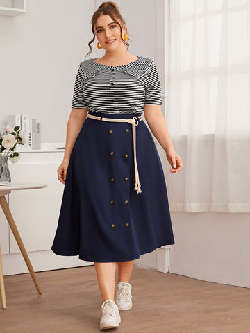 Plus Striped Tee With Double Button Skirt Without Belted