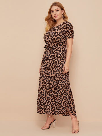 Plus Batwing Sleeve Belted Leopard Dress