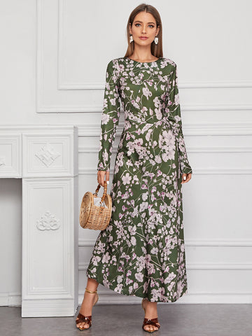 Amy's Cart Floral Print Zip Back Maxi Dress