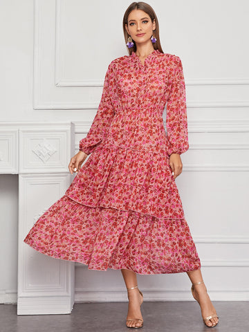 Amy's Cart Floral Print Layered Hem Dress