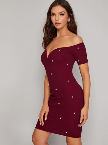 Sweetheart Neck Pearl Beaded Bardot Dress