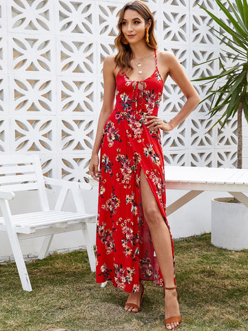 Amy's Cart Backless Floral Print Cami Dress