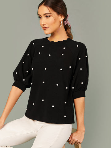 Scallop Edge Pearl Beaded Raglan Sleeve Top