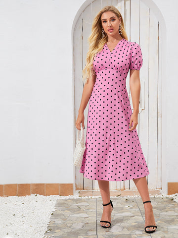 Polka Dot Slit Hem A-line Dress