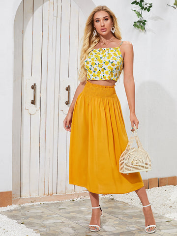 Floral Cami Crop Top & Shirred Waist Skirt Set