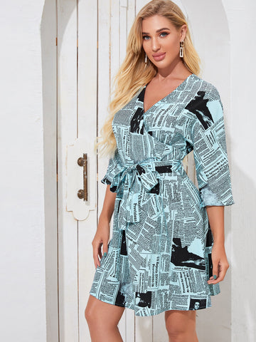 Surplice Front Self Tie Newspaper Print Dress