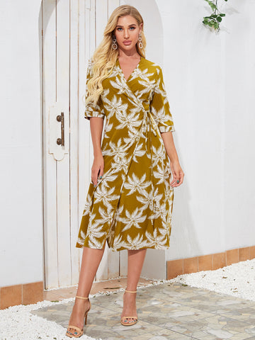 Plants Print Tie Side Wrap Dress
