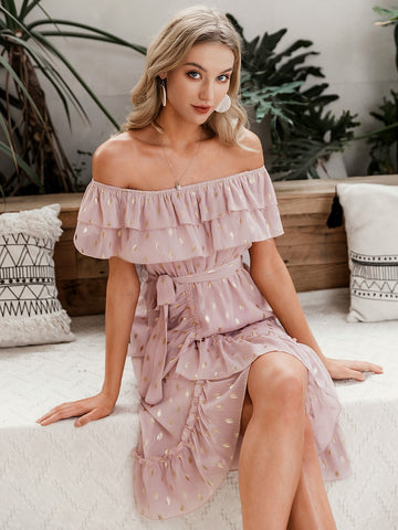 Amy's Cart Off Shoulder Wrap Belted Gold Print Dress