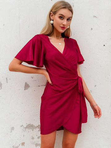 Amy's Cart Wrap Belted Satin Dress