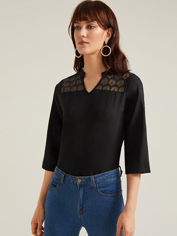 Amy's Cart Notched Neck Lace Yoke Blouse