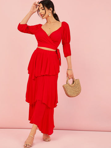 Gathered Sleeve Tie Side Wrap Top and Layered Hem Skirt Set