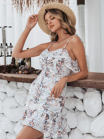 Amy's Cart Knot Straps Ruffle Hem Floral Cami Dress