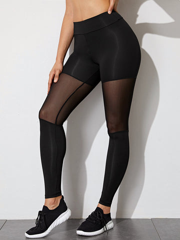 Contrast Mesh Solid Sports Leggings