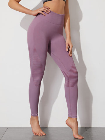 Wide Waistband Striped Sports Leggings