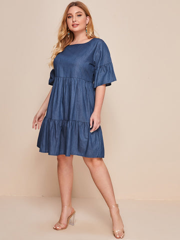 Plus Flounce Sleeve Ruffle Hem Denim Smock Dress