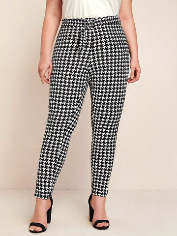 Plus Striped Side Houndstooth Belted Pants