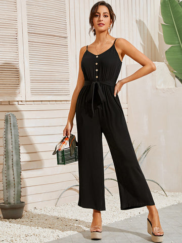 Button Front Self Belted Wide Leg Cami Jumpsuit