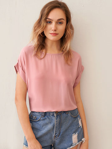 Cuffed Sleeve Solid Top