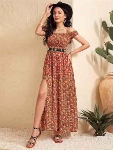 Shirred Bodice High Split Hem Ditsy Floral Bardot Dress