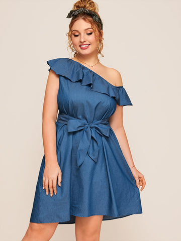 Plus Asymmetric Neck Ruffle Trim Belted Denim Dress