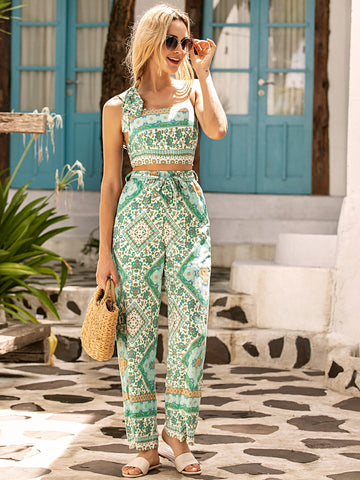 Tribal Print Cami Top & Belted Wide Leg Pants