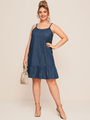 Plus Ruffle Hem Denim Cami Dress