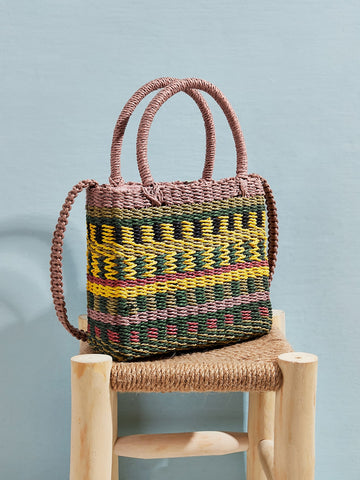 Color-block Woven Raffia Satchel Bag