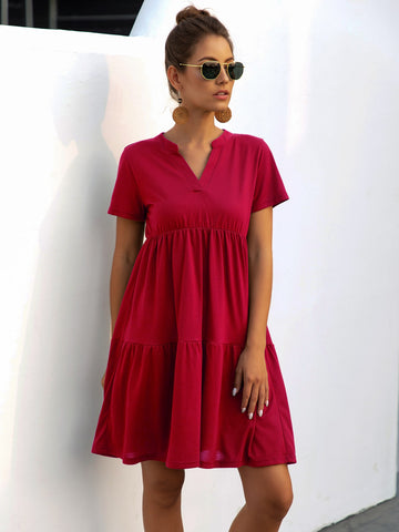 Solid Notched Neck Ruffle Hem Smock Dress
