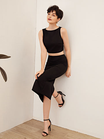 Solid Tank Top and Split Hem Pencil Skirt Set