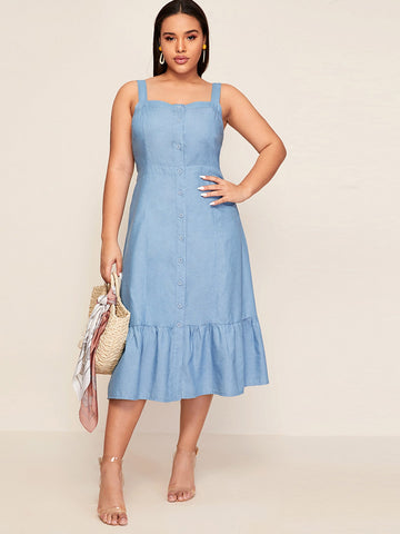 Plus Button Front Ruffle Hem Cami Denim Dress